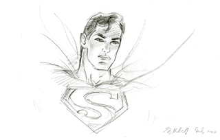 Superman Layout for DC Panorama, Greg Hildebrandt