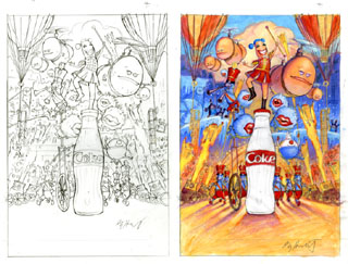 Coca-Cola Advertisement Sketch and Comp, Greg Hildebrandt