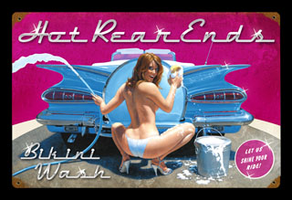 Hot Rear Ends - Vintage Tin Sign, Greg Hildebrandt